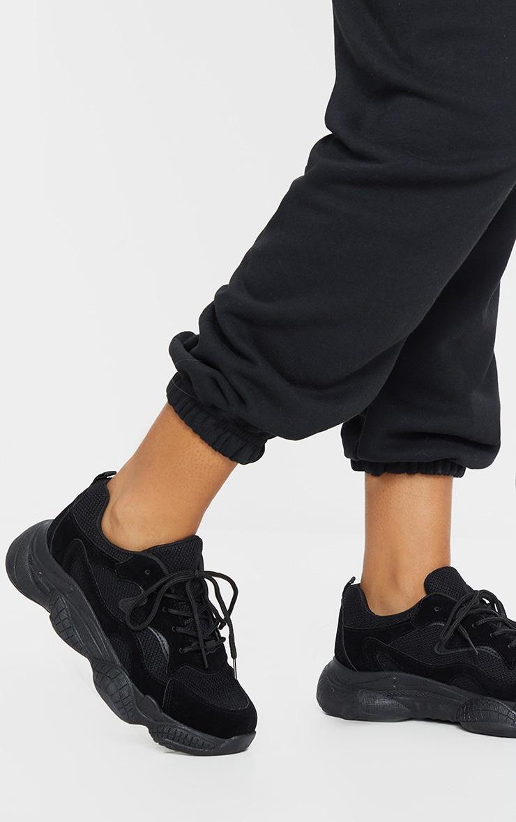 Black Double Bubble Sole Lace Up Sneaker 2