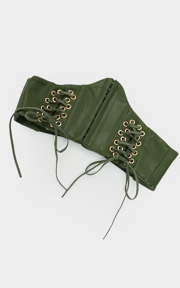 Khaki Pu Hook And Eye Corset Belt 2