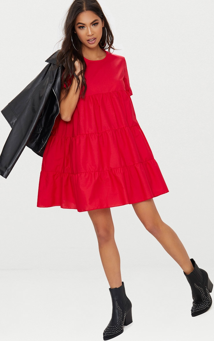 Red Tiered Poplin Smock Dress 1