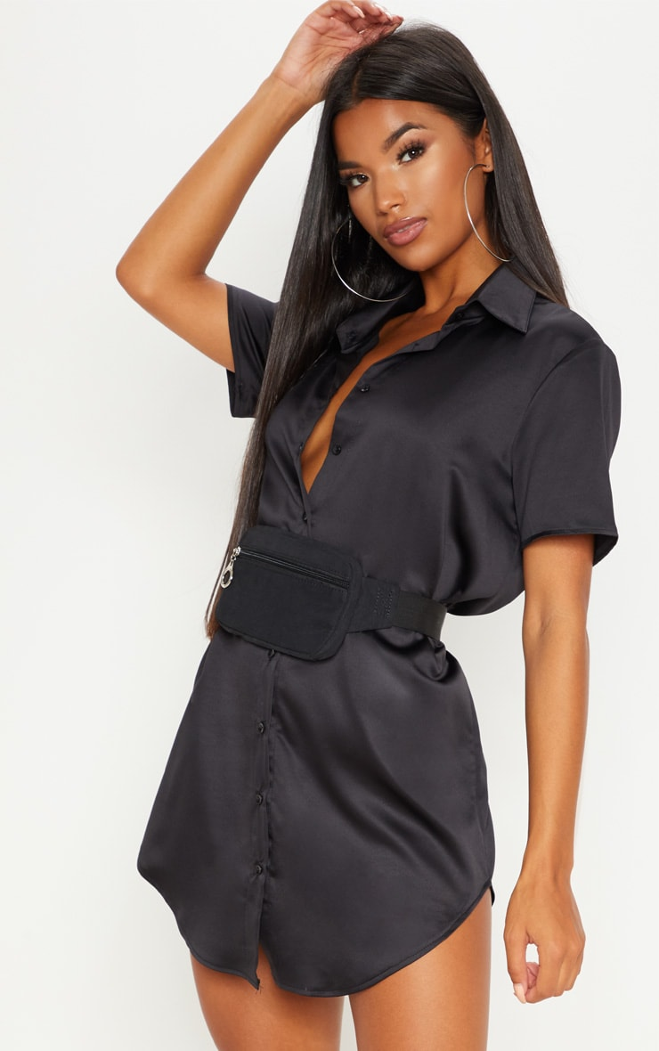 Black Satin Short Sleeve Shirt Dress 1