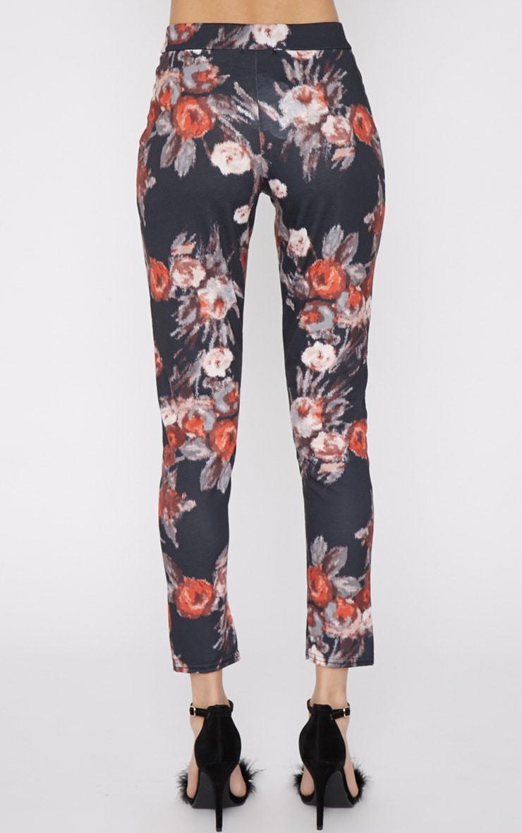 Yulia Black Floral Jersey Trouser 4