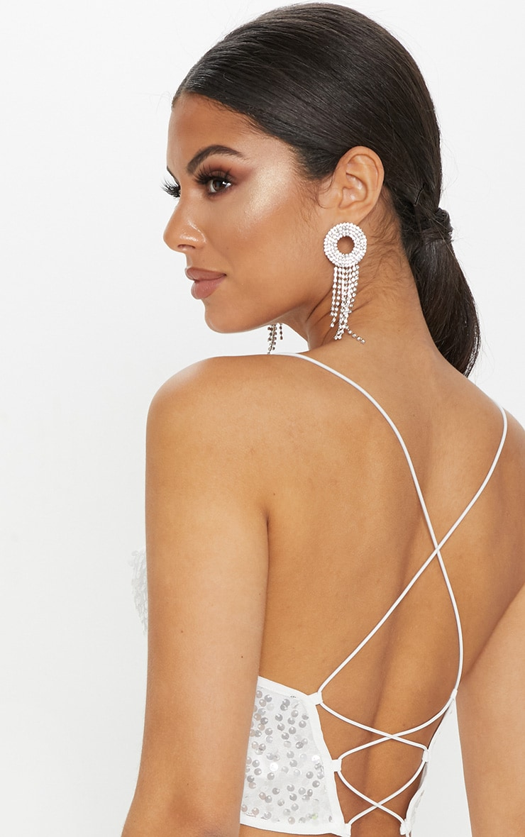 White Cowl Neck Sequin Strappy Crop Top 5
