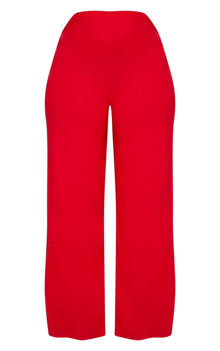 Plus Red High Waisted Wide Leg Trousers 3