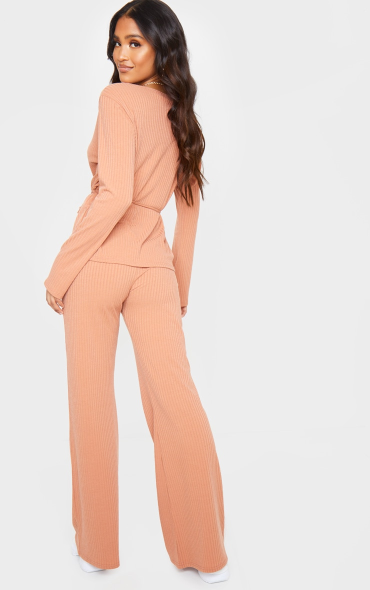 Peach Wrap Cardi And Wide Leg Knitted Lounge Set 3