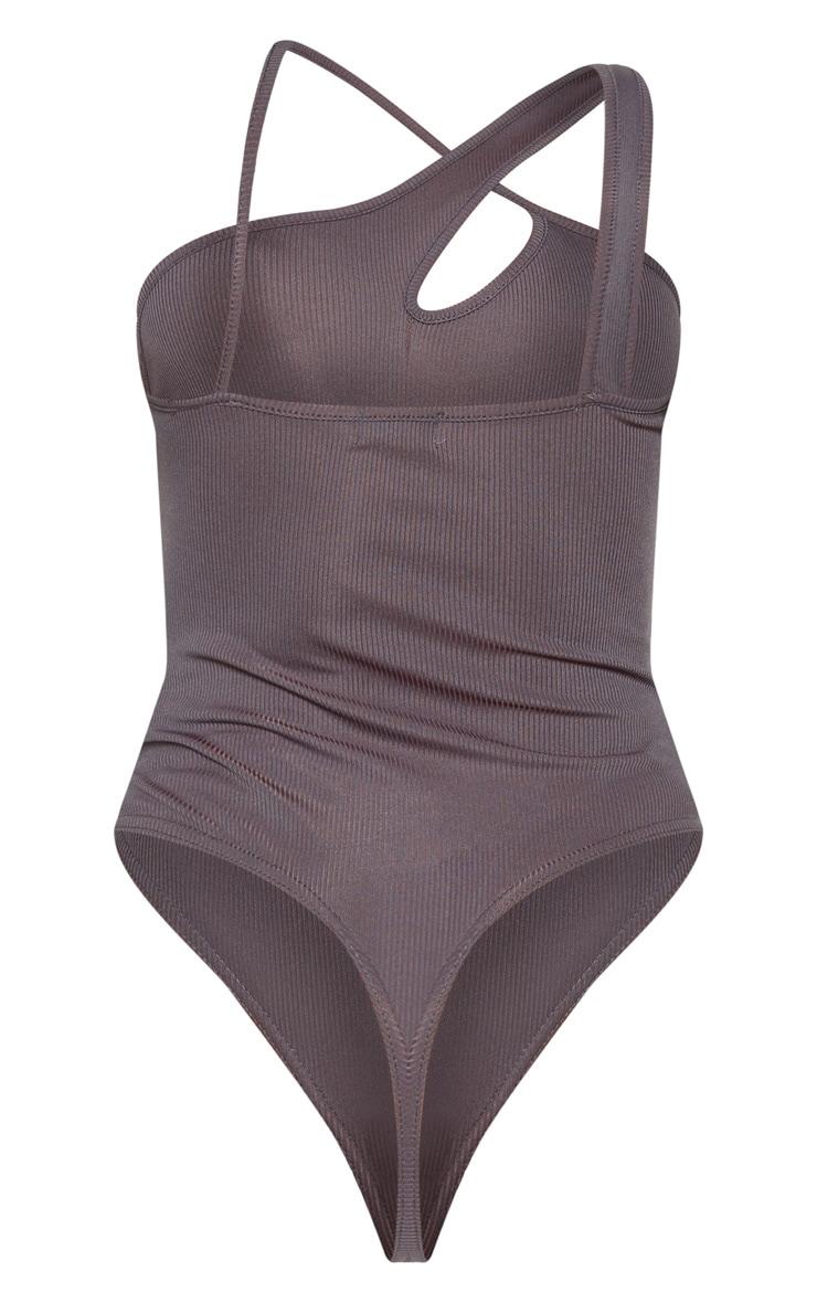 Charcoal Keyhole Rib Bodysuit 4