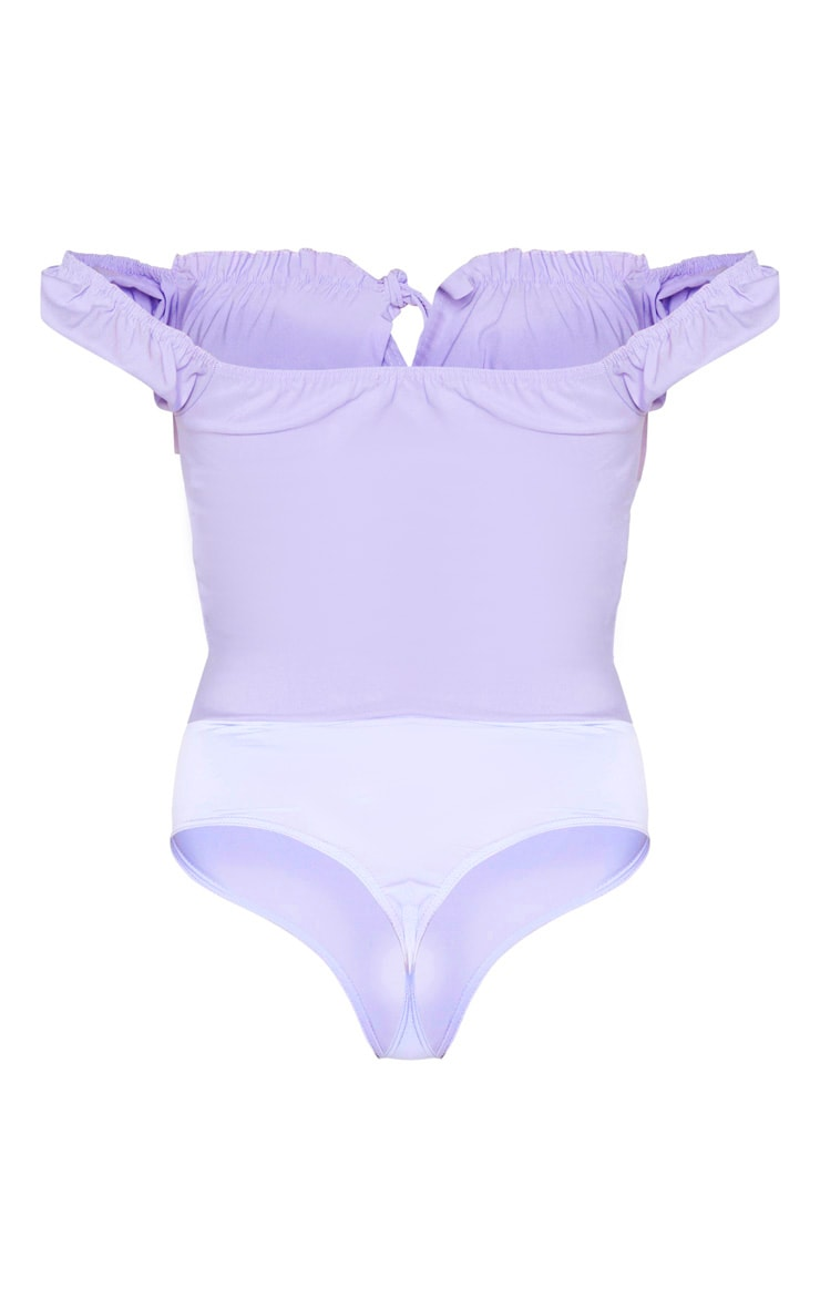Tall Dusty Lilac Woven Bardot Tie Front Bodysuit 6