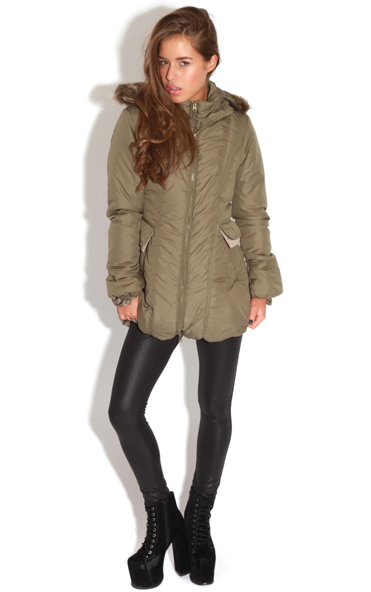 Cyra Khaki Parka With Fur Hood -16 6