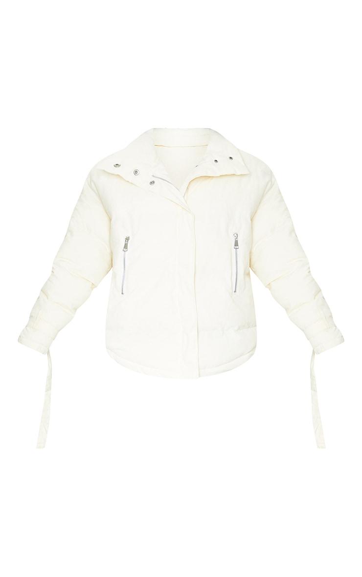 Cream High Collar Belted Wrist Panel Puffer Jacket 5