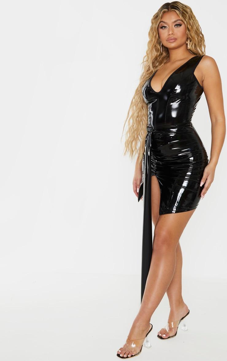 Black Faux Leather Extreme Drape Mini Skirt 5