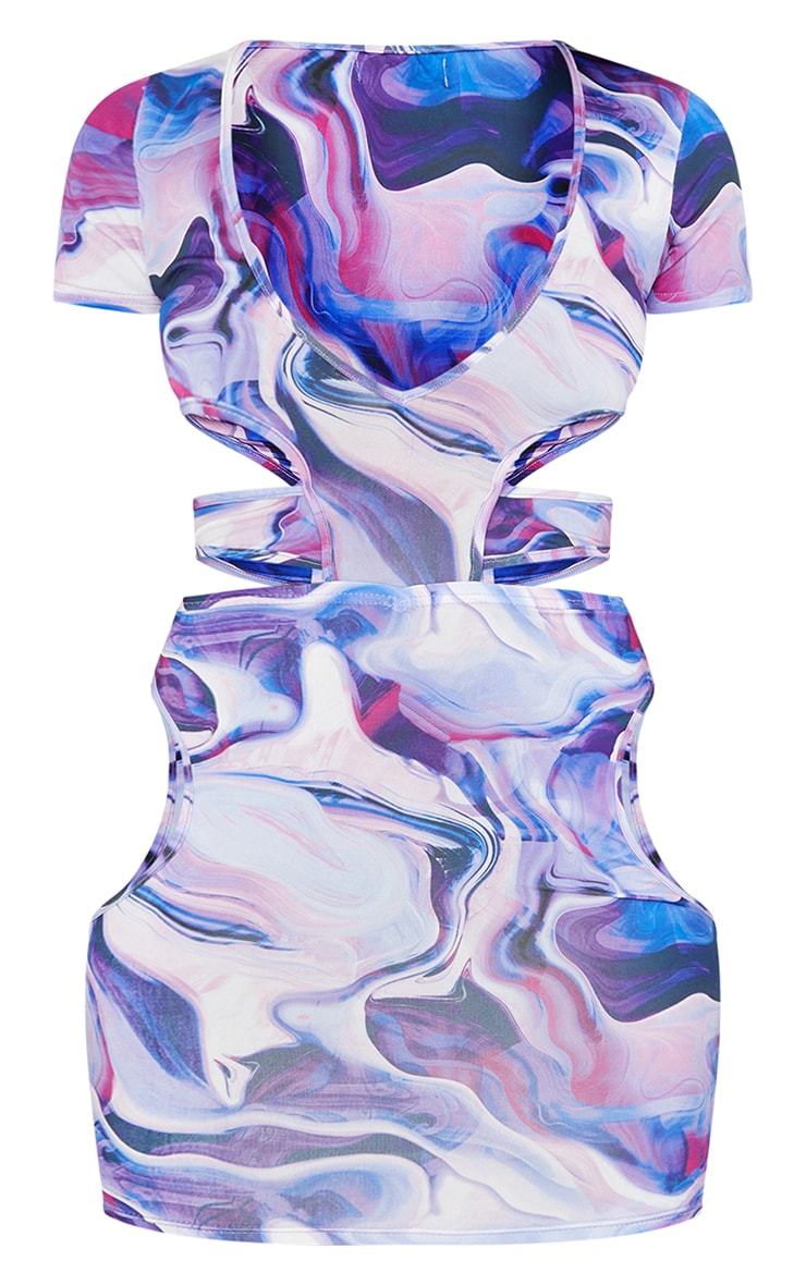Purple Abstract Print Slinky Waist Cut Out Short Sleeve Bodycon Dress 5