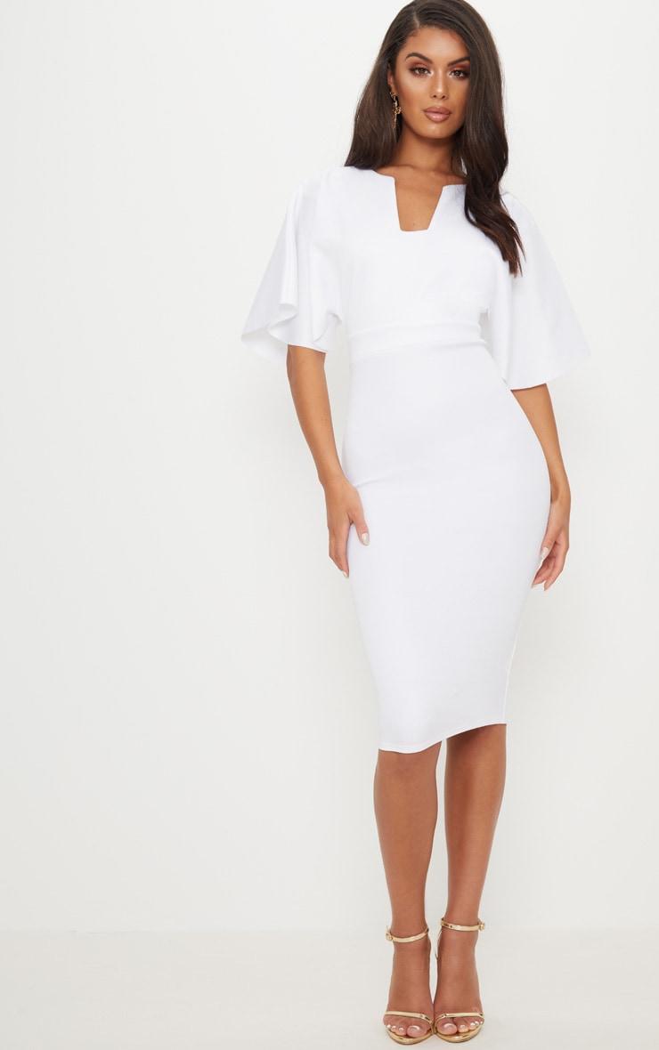 White Plunge Sleeve Midi Dress 1