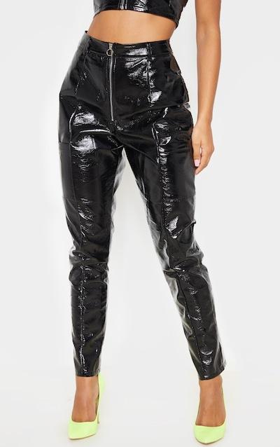 Black Vinyl Zip Up Straight Leg Trouser