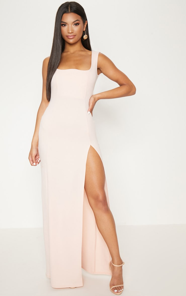 Nude Square Neck V Cut Split Leg Maxi Dress
