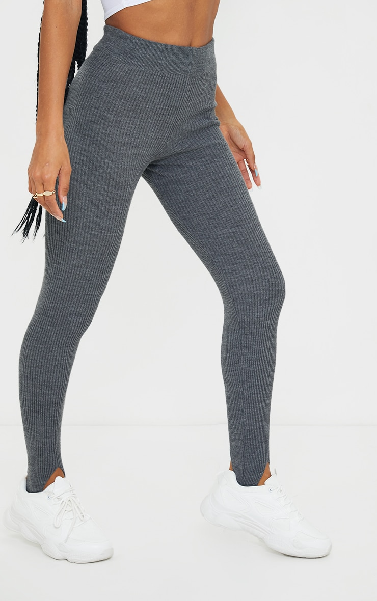 Charcoal Stirrup Ribbed Knitted Legging 2