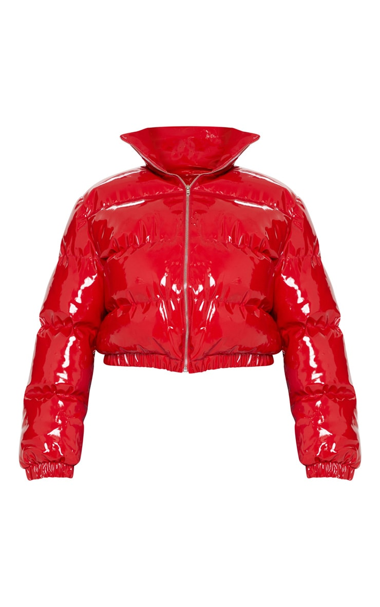 Plus Red Cropped Vinyl Puffer Jacket Prettylittlething