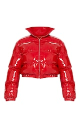 Plus Red Cropped Vinyl Puffer Jacket 3
