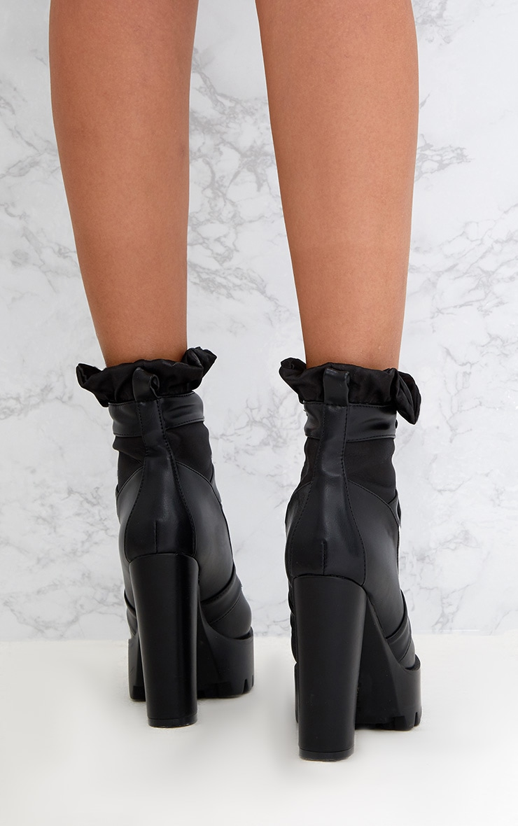 Black Ruched Lace Up Platform Ankle Boots 4