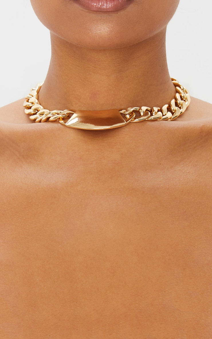 Gold Extra Chunky Signet Chain Necklace 2