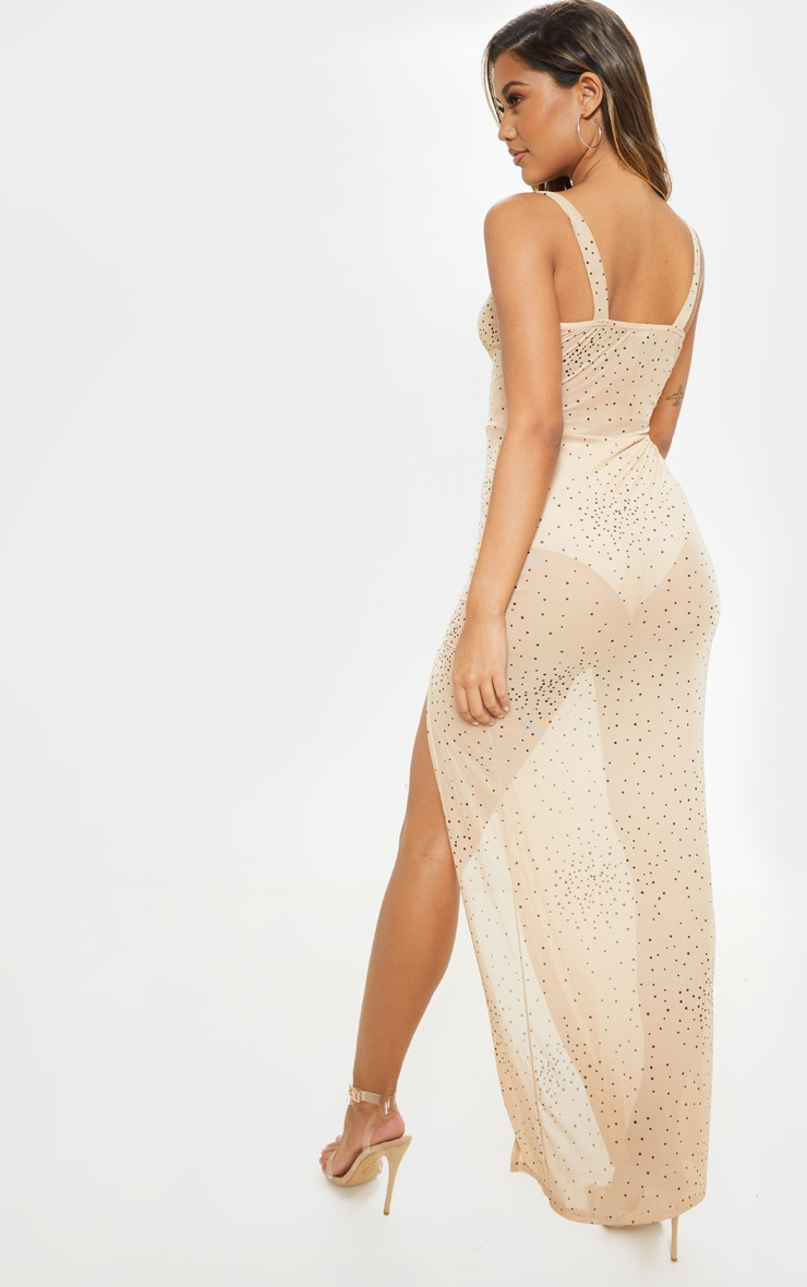 Beige Polka Dot Sheer Mesh Strappy Split Maxi Dress 2