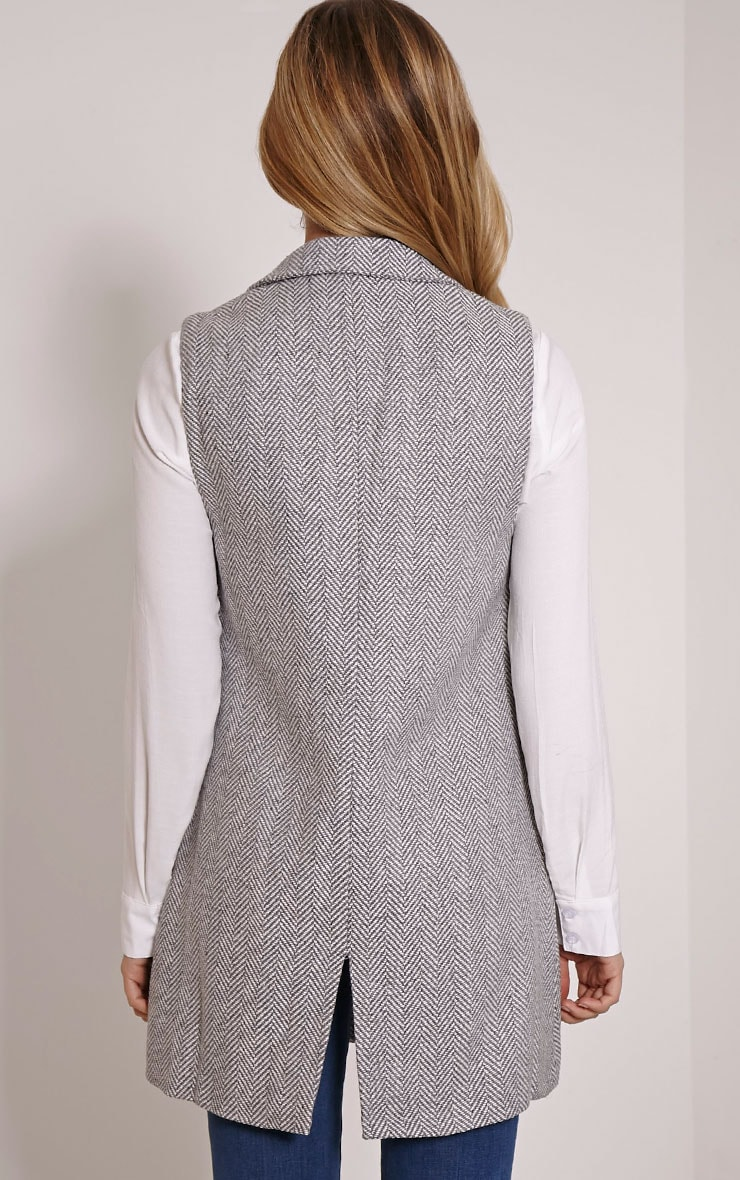 Leelee Grey Striped Sleeveless Jacket 2
