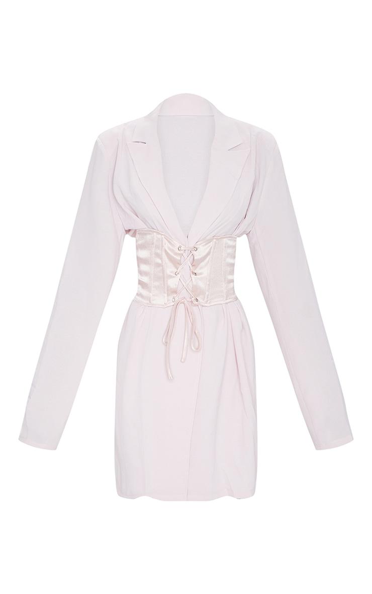 Light Pink Woven Lightweight Oversized Satin Tie Belt Blazer 5