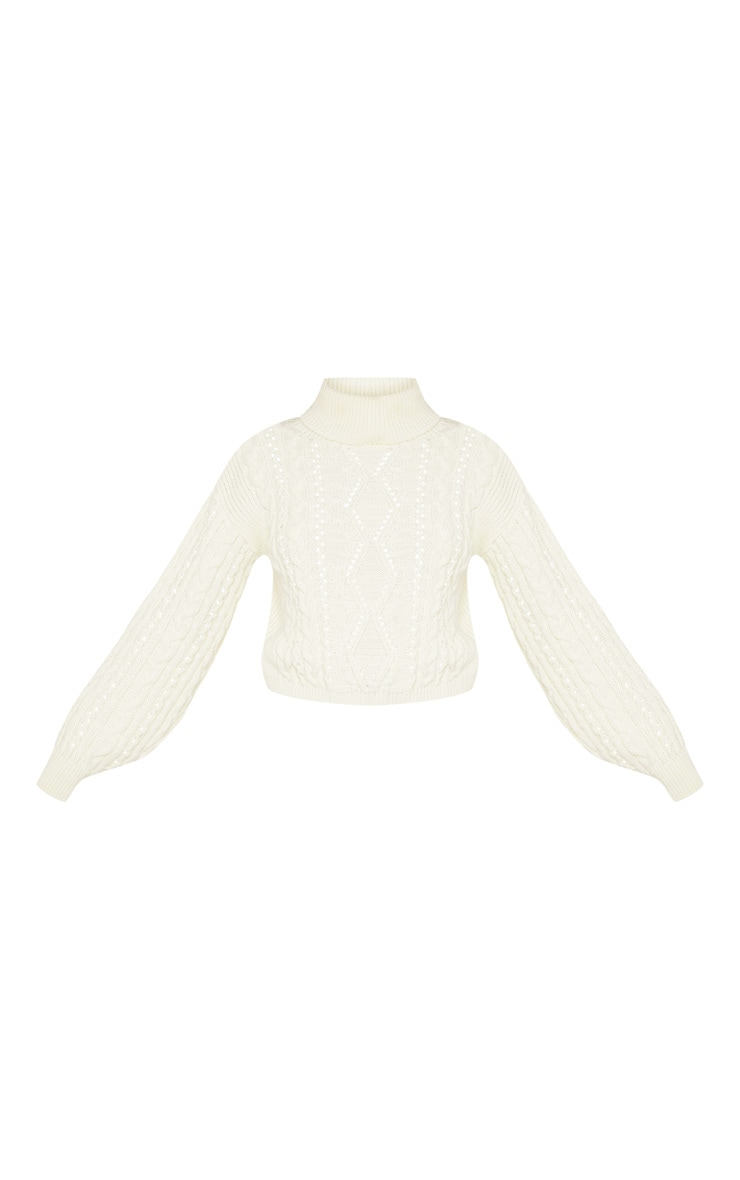 Cream Cut Out Detail Roll Neck Sweater 3