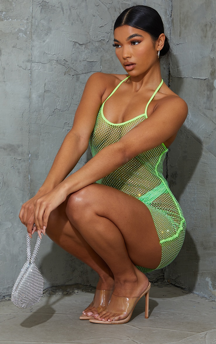 Lime Diamante Fishnet Strappy Dress 2