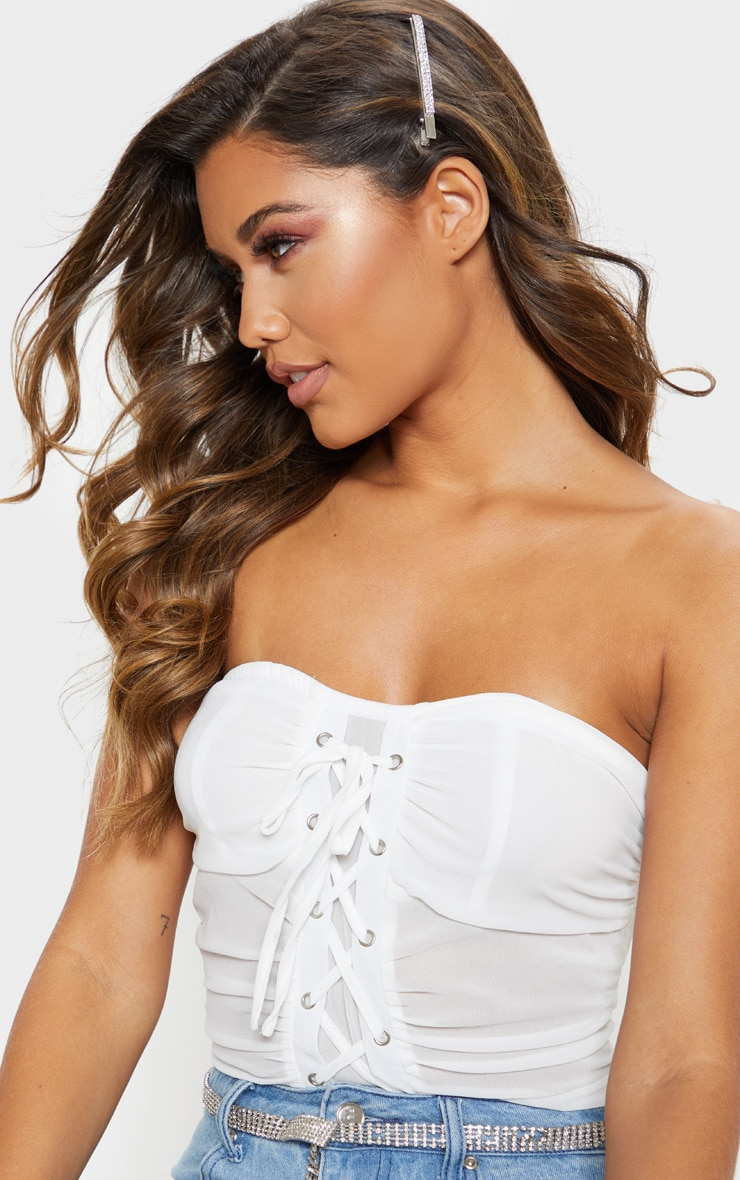 White Chiffon Lace Up Bandeau Bodysuit 6