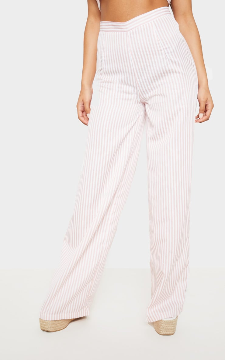 Baby Pink Woven Stripe Wide Legged Trouser  2