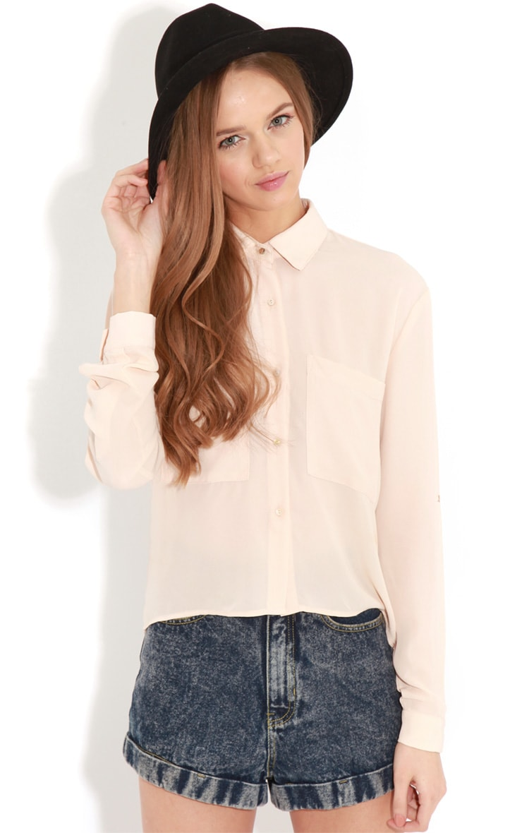 Arya Rose Cropped Pearl Button Blouse 1