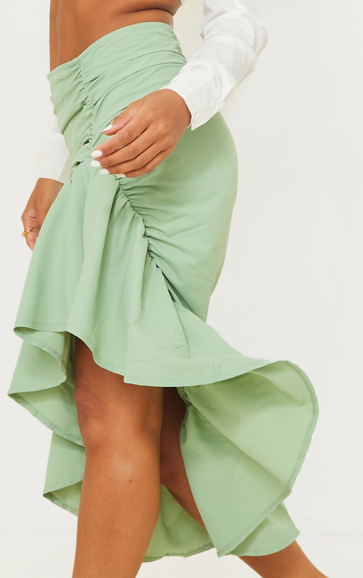 Sage Green Ruched Frill Hem Midi Skirt 4