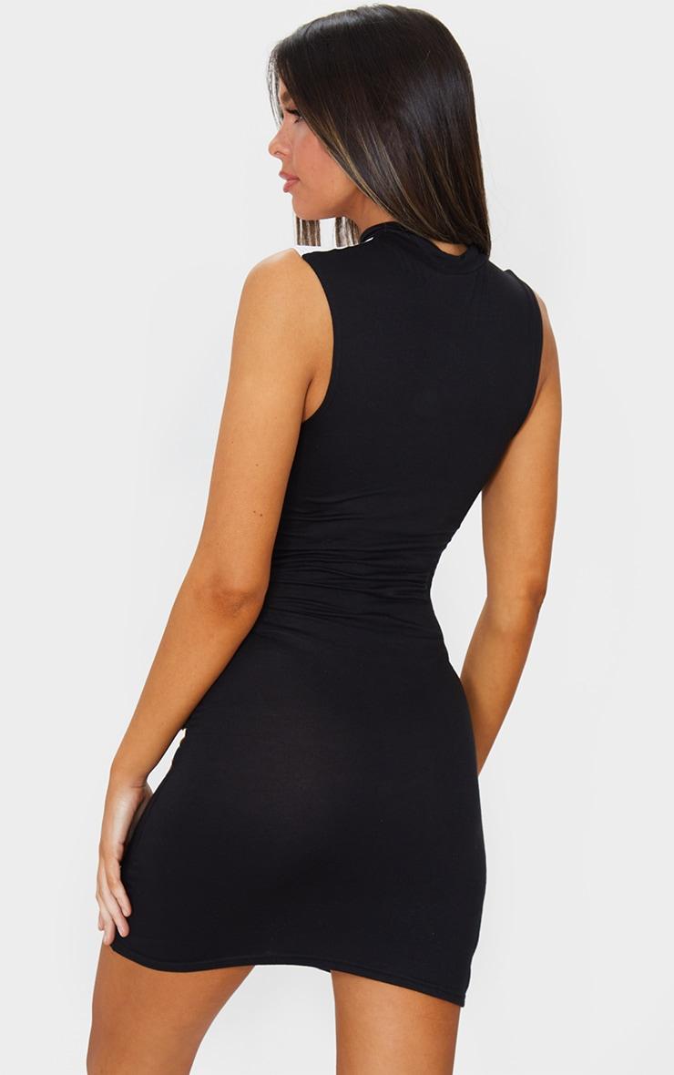 Black Mono Contrast Zip Bodycon Dress 2