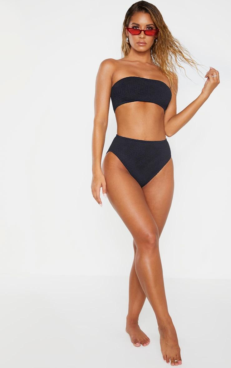 Black Crinkle High Waist Bikini Bottom 5