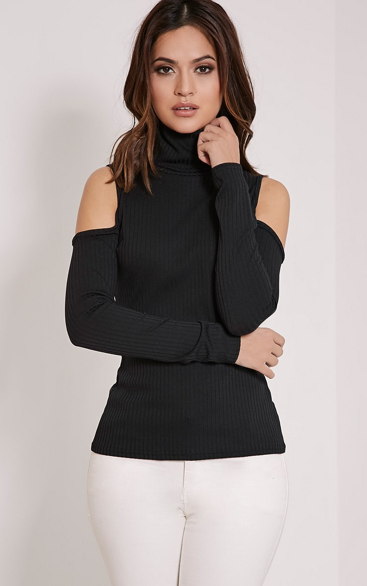 Valentina Black Ribbed Cold Shoulder Roll Neck Top image 1 f2f461328