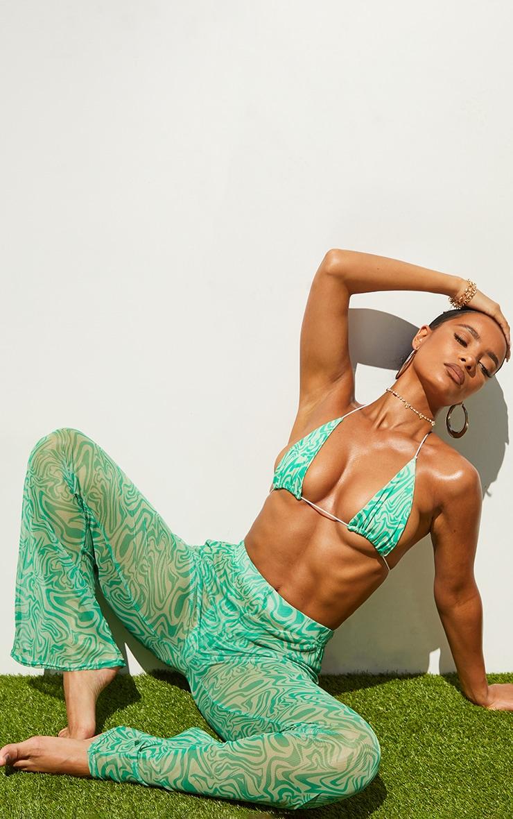 Green Swirl Print Triangle Bikini Top 3