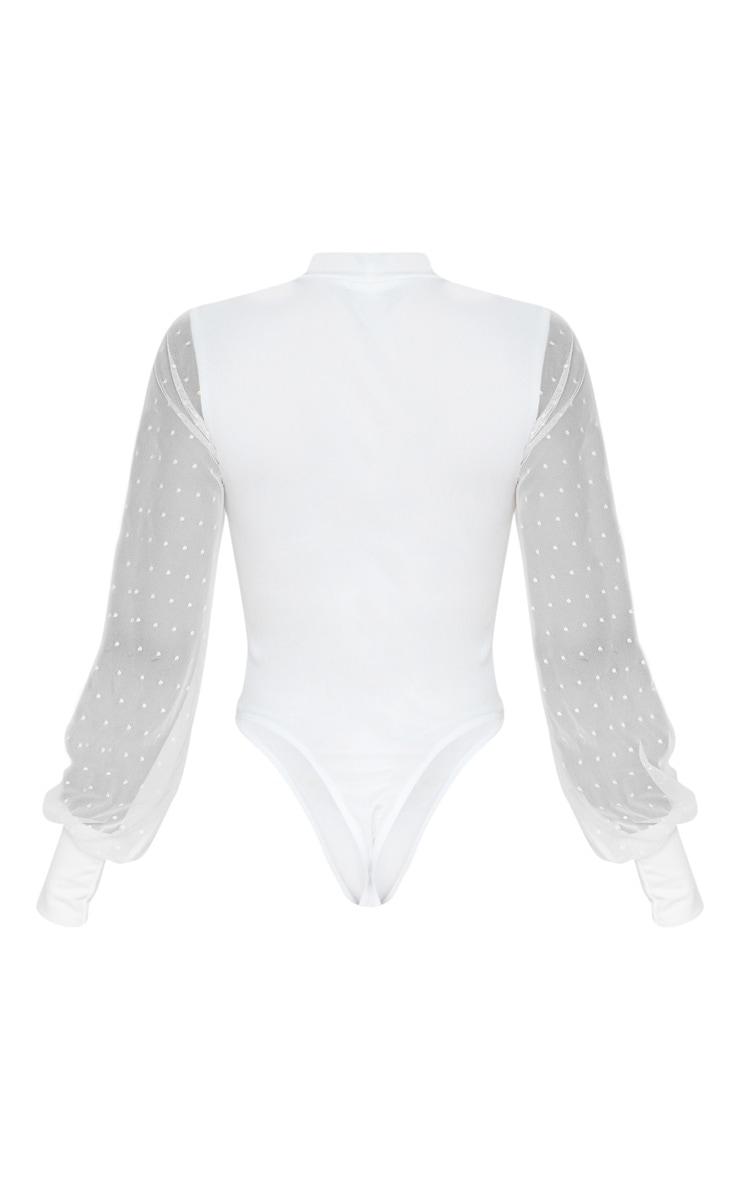 Tall Cream Dobby Mesh Sleeve Bodysuit 4