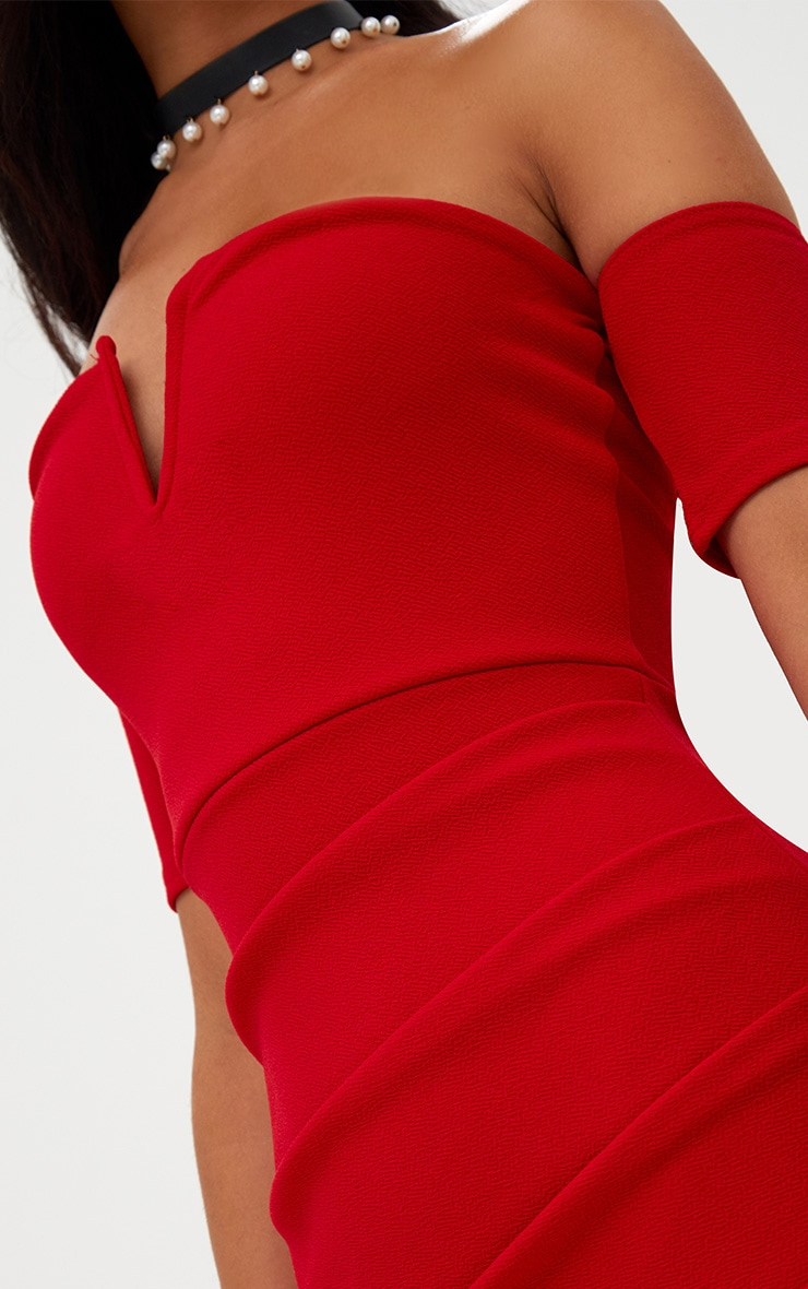 Red Bardot Wrap Front Bodycon Dress 5