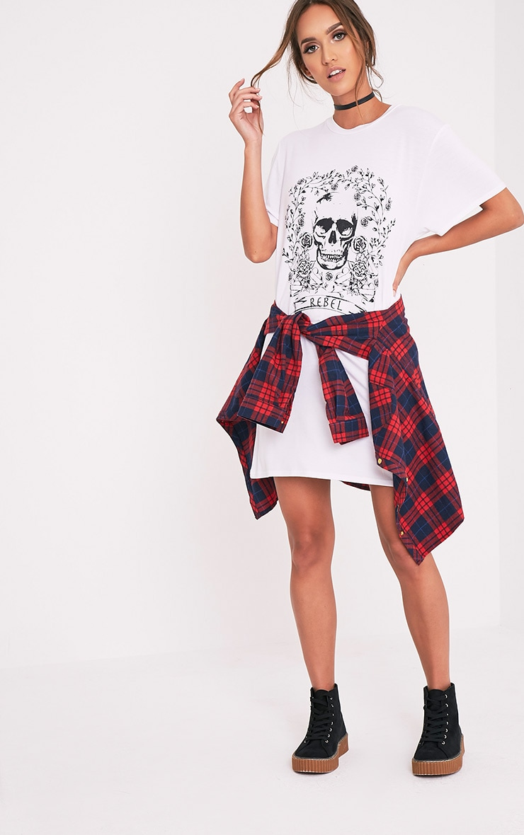 Rebel Skull White Printed T shirt Dress 5