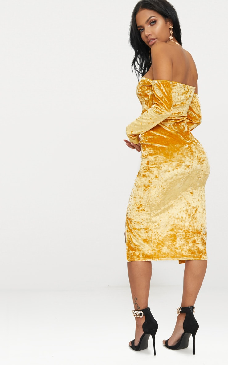 Mustard Velvet Bardot Long Sleeve Wrap Detail Midi Dress 2