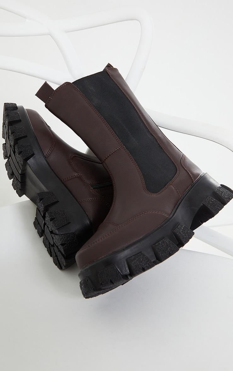 Chocolate Chunky Cleated Sole Calf High Chelsea Boots 3
