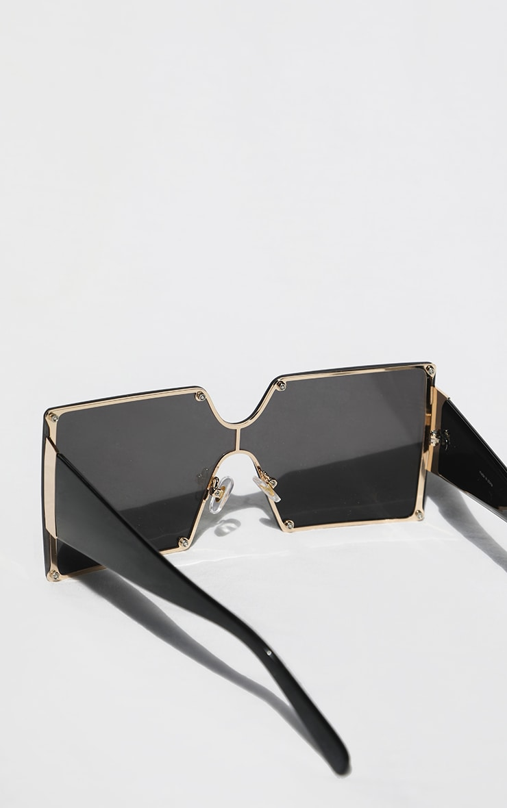 Black Square Lens Oversized Sunglasses 3