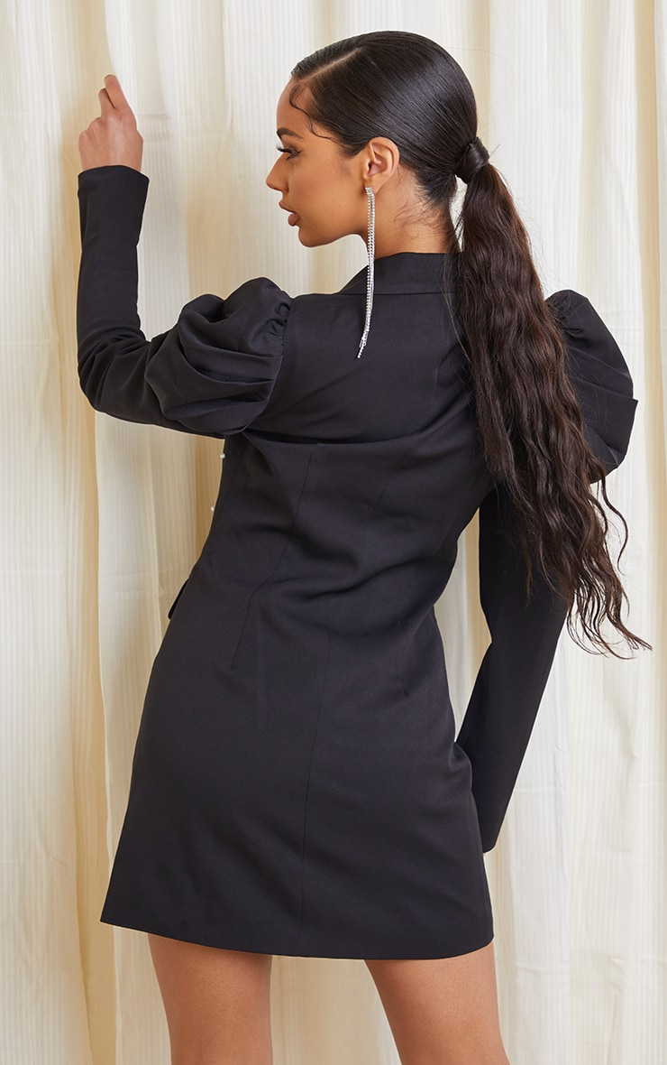 Black Pearl Detail Puff Sleeve Blazer Dress 2