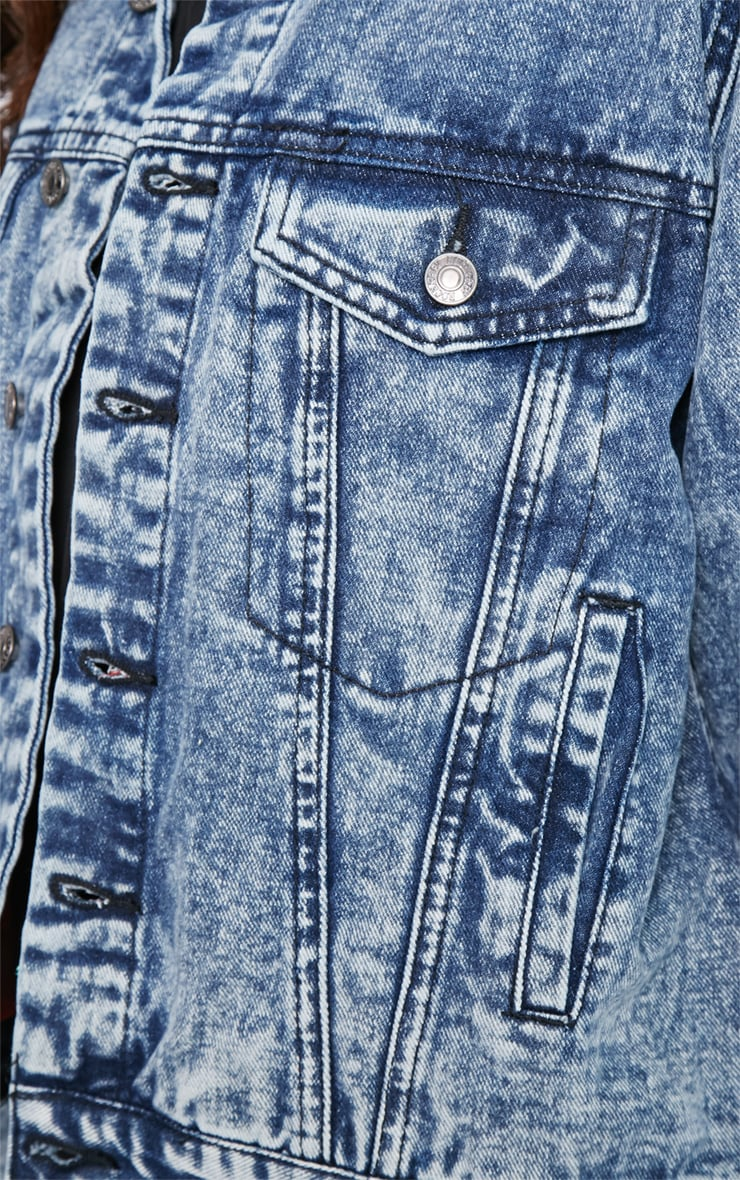 Kasa Acid Wash Check Lined Denim Jacket 5
