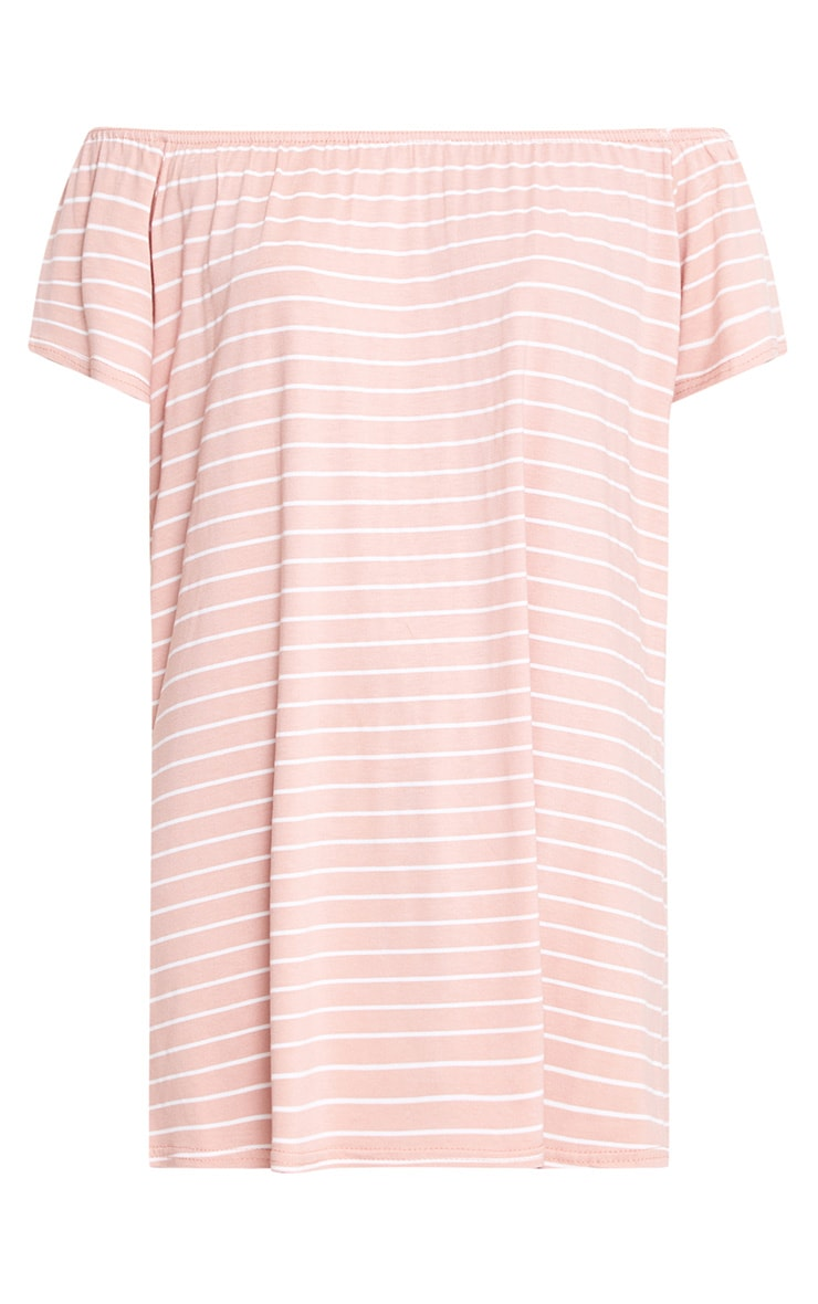 Pink Stripe Bardot Shift Dress 3
