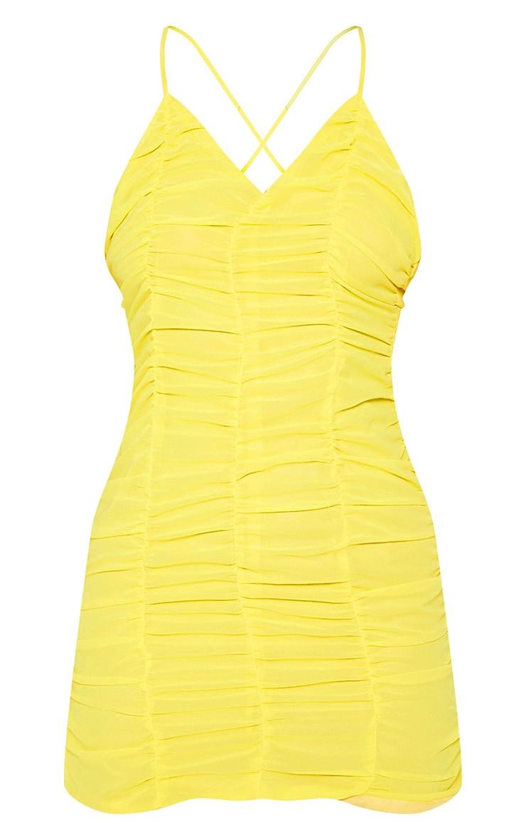 Yellow  Chiffon Ruched Bodycon Dress 3