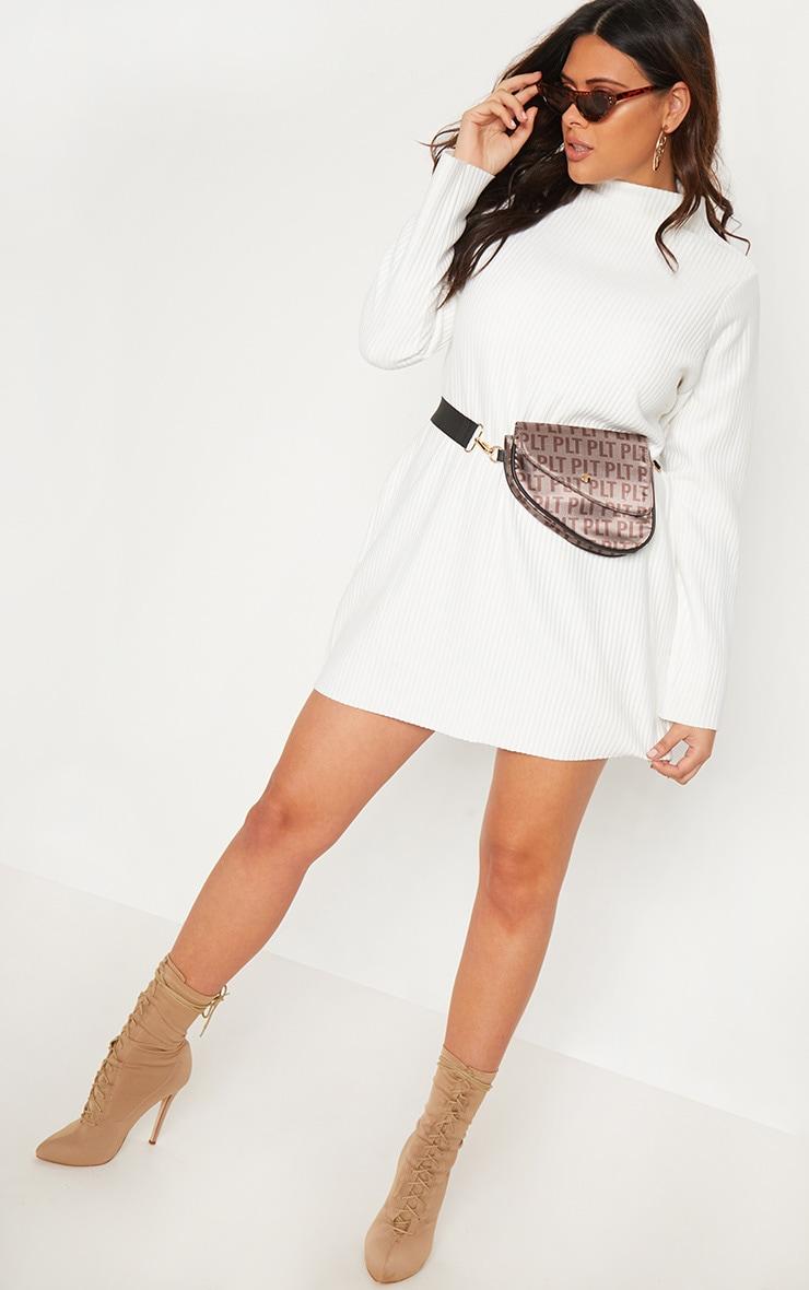 Plus Cream Jumbo Rib High Neck Sweater Dress 2