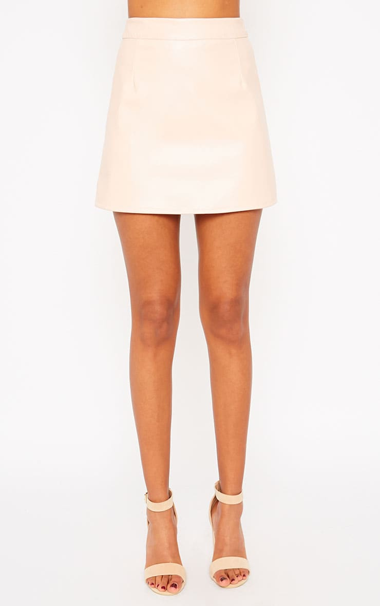 Rose Peach Faux Leather A-line Mini Skirt  2