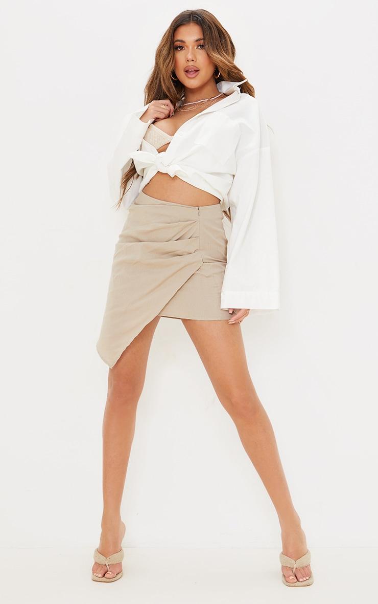 Taupe Pleated Linen Look Mini Skirt 1