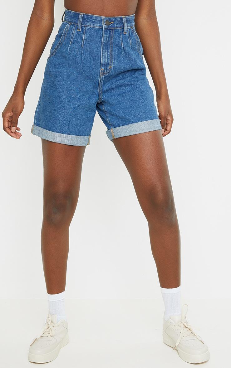 Tall Mid Blue Turn Up Hem Mom Shorts 2