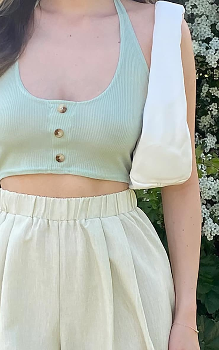 Sage Green Ribbed Halterneck Button Crop Top 4